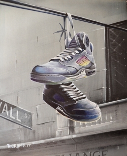 Wolf Of Wall St Grey Jordan 5 painting
