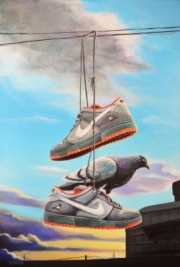 "Nike SB Dunk-Staple ""Pigeon"" 24x36"" acrylic on canvas"