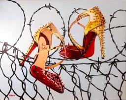 "Christian Louboutin Goldcross Spike Pump 16x20"" acrylic on canvas"