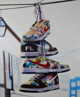 "Nike Paris x Bernard SB Dunks 30x24"" acrylic on canvas"