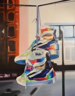 """Raf Simons Hi Top 24x30"""" acrylic on canvas"""