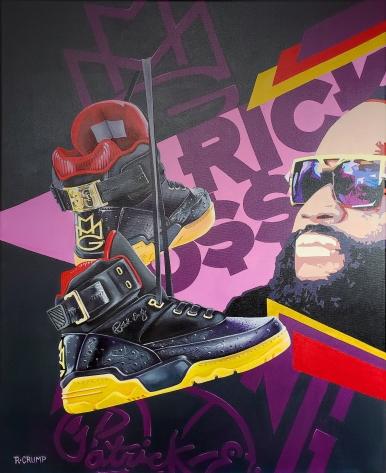 "Rick Ross MMG Ewing Athletics 30x24"" acrylic on canvas"
