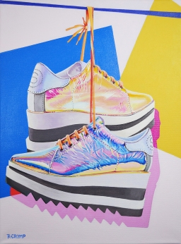 "Stella McCartney Foil Wedges 12x16"" acrylic on canvas"